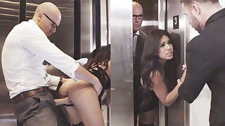 Shifty GF cheating with will not hear of big-dicked boss in an elevator
