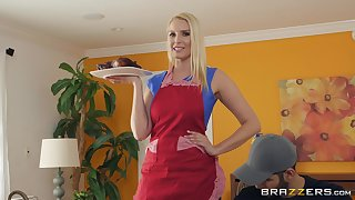 Distend blonde housewife Vanessa Cage bounces on cock and gets cum