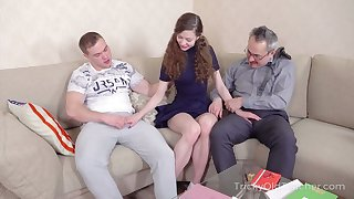 Old tricky teacher takes part in crazy student troika sex